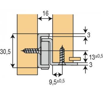 Coulisses à galets - charge 100 kg - sortie partielle - Pour montage sous tiroir - zingué brillant - FR 206
