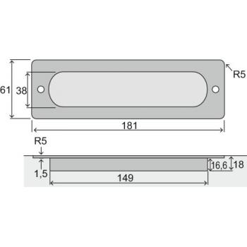Poignée cuvette rectangle L 181 mm inox 304 Boëdic - Legallais