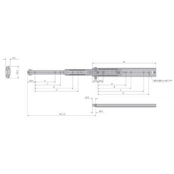 Coulisses à billes - charge 100 kg - sortie totale - Avec système anti-basculement - DZ5343