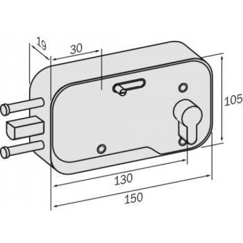 Serrure de porte de garage en applique horizontale à cylindre européen 301