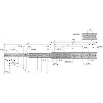 Coulisses à billes - charge 45 kg - sortie totale - Pour tiroir montage latéral - 3832