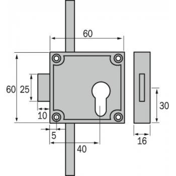 Serrure de meuble 3 points - 5464 - pour cylindre européen