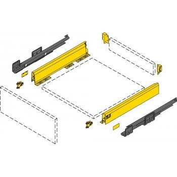 Kit tiroir simple - hauteur 126 mm - argent