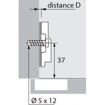Embase cruciforme à visser Harpe II, avec vis prémontées, entraxe 32 mm