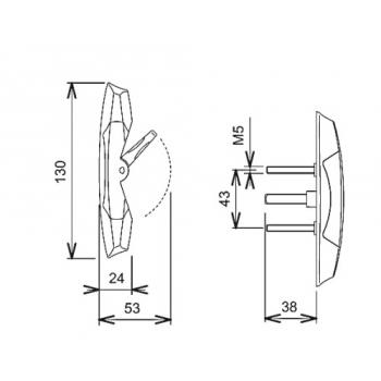 Mécanisme intérieur 6554 type Smash pour châssis coulissant, carré de 7 mm