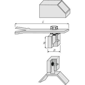 Pivot à sceller de portail pour tubes carrés
