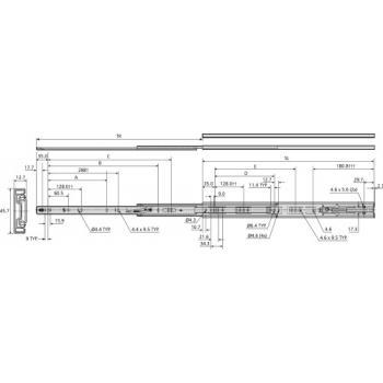 Coulisses à billes - charge 45 kg - sortie totale avec amortisseur - 3832EC-B