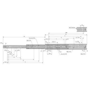 Coulisses à billes - charge 45 kg - sortie totale - Pour tiroir à montage latéral - 3832 DO