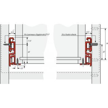 Coulisses à galets - charge 50 kg - sortie totale - Montage en applique - FR 6142