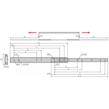 Coulisses à billes - charge 35 kg - course dans les deux sens - Pour tiroir montage latéral - 2026