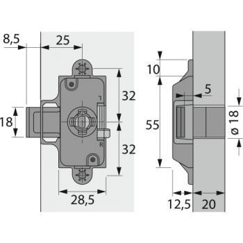 Serrure de meuble à cylindre à palastre pour cylindre interchangeable Z23 Ø18