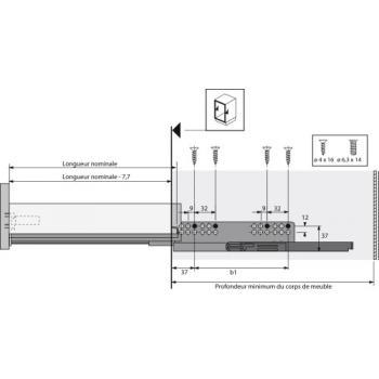 Coulisses à billes pour tiroir InnoTech Atira - charge 30kg - sortie totale - Quadro V6 Silent System