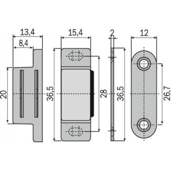 Loqueteaux rectangulaire - pose en applique