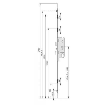 Crémone serrure - Tétière 18 mm - 3 points - Axe 40 mm - GU-Fercomatic