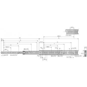 Coulisses à billes - charge 40 kg - sortie totale - Pour tiroir à montage latéral - 3732