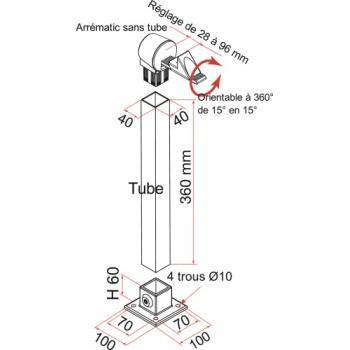 Arrêt automatique arrématic avec tube pour portail battant