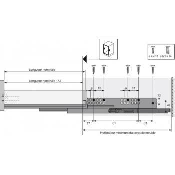Coulisses à billes pour tiroir InnoTech Atira - charge 50kg - sortie totale - Quadro V6+ Silent System