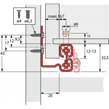 Coulisses à billes - charge 50 kg - sortie totale - Quadro V6+ Silent System