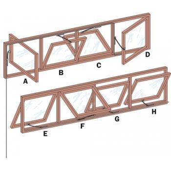 Poignée et renvoi d'angle à 90° pour ferme-imposte à tringle OL 90