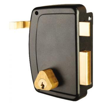 Serrure en applique verticale à tirage - Pêne dormant et demi-tour - A cylindre rond - Match