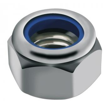 Écrous de sécurité hexagonaux bague polyamide inox A4