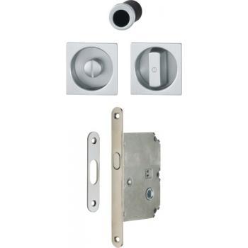 Set de condamnation aluminium pour porte coulissante rosace carré 4921
