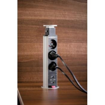 Bloc 3 prises + USB escamotable 60 mm