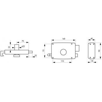 Serrures en applique horizontale à tirage à cylindre et bouton pour porte de garage