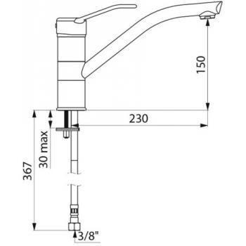 Mitigeur d'évier ou auge à bec orientable et manette ajourée