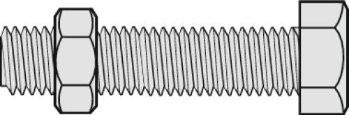 Boulons tête hexagonale acier zingué blanc 6.8 entièrement filetés