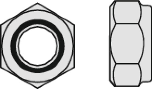 Écrous de sécurité hexagonaux bague polyamide inox A2