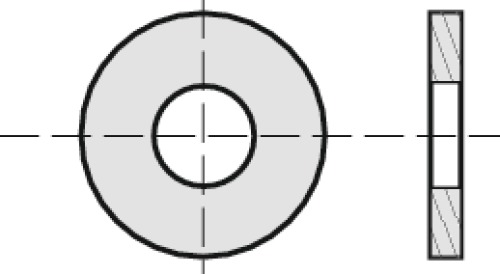 Rondelles plates série moyenne Mu laiton